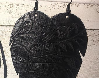 Black Tooled Leather Feather Earrings