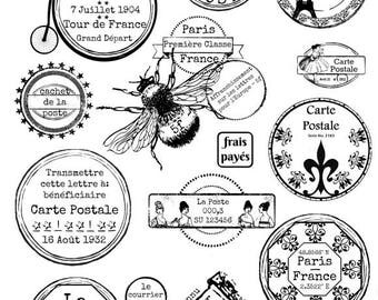 French Postmarks, Carte Postale, Postmark Clipart, Printable Postmarks, Collage Sheet, Digital Download, Postmarks and Stamps,