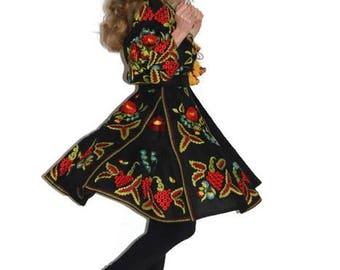 Embroidered dress Vyshyvanka Ukrainian Dresses Custom bohemian clothing Black Modern Folk style Gypsy Dress Vishivanka Boho Ukrane