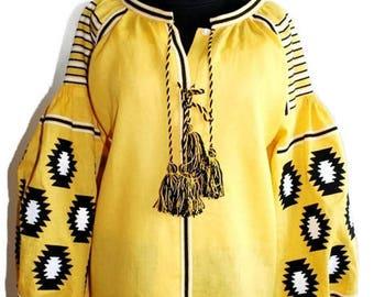 Vyshyvanka Boho Clothing Ukrainian Embroidery Bohemian Blouse Yellow Linen Ethnic Ukraine Vishivanka Woman Mexican Folk Modern Style