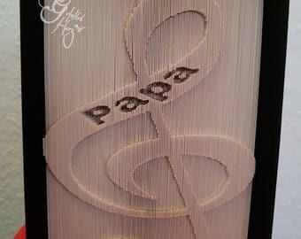 """Folded book note """"Papa"""", Beautiful Gift"""