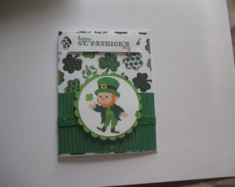 Sale - St. Patrick's Day Card,  Leprechaun, green, shamrocks