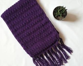 Purple crochet scarf, purple scarf, winter scarf, fringed scarf, winter wear, scarf, scarfs, scarf knit, scarf women, winter scarf wool