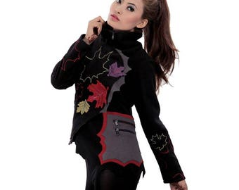 Fairy fleece jacket with patchwork and embroidery