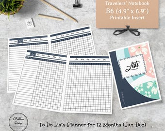 List Planner Inserts, Lists Inserts, 12 Month Planner, To Do List Planner, B6 Printable Insert, Daily Tracker, Inserts for B6, B6 Inserts