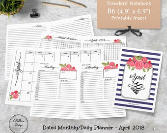 April Planner, 2018 Planner Monthly, Sunday Start Planner, TN Insert B6, B6 Size Inserts, B6 Planner, Monthly Printable, Floral Planner