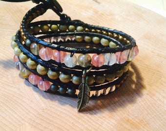 3 row leather bracelet