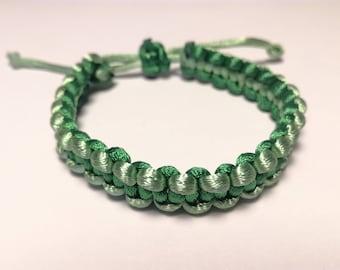 Green satin bracelet