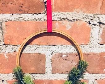 Scandinavian Inspired, Embroidery Hoop, Christmas Wreath, Minimalist Wreath