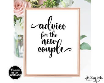 Advice For The New Couple Sign, Printable Wedding Sign, Printable Digital Wedding Sign, WS01