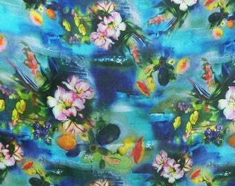 Discounted Silk Linen Beautiful flowers on blue Digital Printed Fashion Outfit Fabric For Dress Material By the Yard (mas-27)