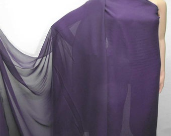 114cm /45 inches wide Dark Purple Silk Georgette Chiffon Fabric 8mm Pure dressmaking material sheer CN-15 by the yards or by the meters
