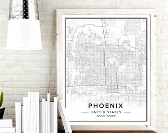 Phoenix Map, Phoenix Print, Phoenix Wall Art, Phoenix Arizona Map, Map Of Phoenix, Phoenix Decor, Phoenix Az Wall Art, City Wall Art, Pdf