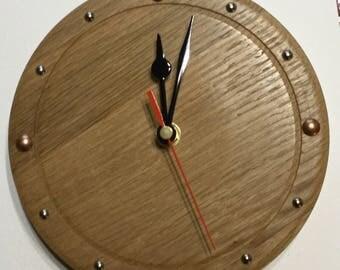 Wooden wall clock recycled Oak. Wall clock.