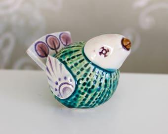 Handmade mini ceramic bird ornament - style D