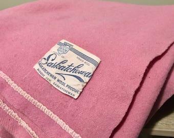 Vintage Virgin Wool Blanket Saskatchewan Canada