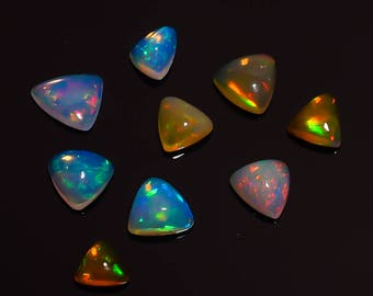 Natural Loose Gemstone Ethiopian Opal Trillion Shape 7.35 Carat  9 Pieces Code HB 407