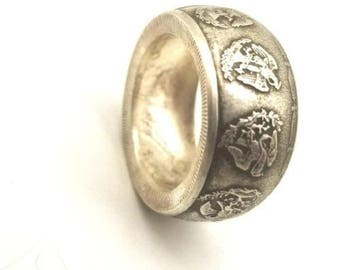 Pure Silver Mexican flying Liberty coin ring. Good luck coin ring. .999 silver