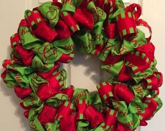 Red & Green Christmas Ribbon Wreath