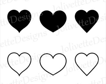 Simple Heart, Hearts, Valentine's, Love, Clip Art, Clipart, Design, Svg Files, Png Files, Eps, Dxf, Pdf Files, Silhouette, Cricut, Cut File