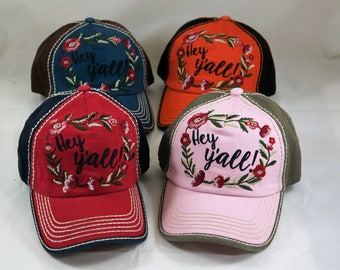 Southern hat, hey y'all hat, hey yall hat, distressed hat , vintage hat, floral hat
