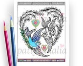 Blue Willow Birds. Hearts. Valentine Coloring Pages. Adult Coloring Pages. Coloring Pages for Kids and Adults. Printables. Instant Download