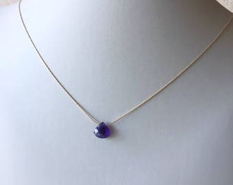 Amethyst necklace,layered necklace,minimalist jewelry, gift for her,amethyst,dainty chain, beading chain,gold fill necklace