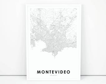 Montevideo Map Art Etsy - Montevideo map