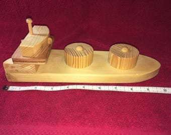 """Handcrafted wooden cargo ship - 10 1/2"""""""