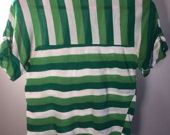 Green polyester knit T-shirt 70's size S