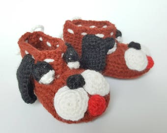 Crochet dog booties etsy brown dogs baby shoes booties handmade crochet shoes brown booties ccuart Images
