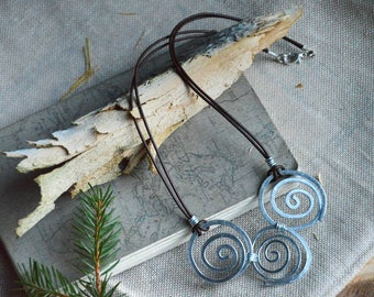 Rustic bohemian necklace, spiral wire necklace, leather and aluminium necklace, celtic necklace, hippie jewelry, gift for mom, gift for her