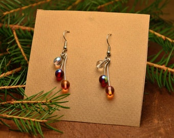 Minimal beaded earrings, floreal earrings, woodland earrings, minimal earrings, nature earrings, glass dangle earrings, wild pendant earring