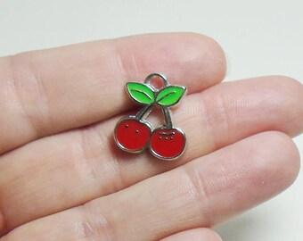 4 Enamel Cherry Charms