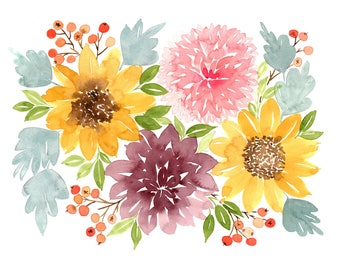 Fall Floral Bouquet Watercolor Painting