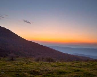 Mountain Sunset Landscape,Whitetop Virginia,Nature Photograph,Landscape Print,Wall Print,Landscape Image,Mountain Skies Photo,Home Décor,Art