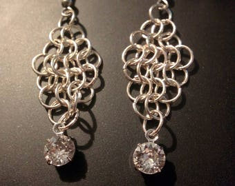Swarovski crystal chain mail earrings