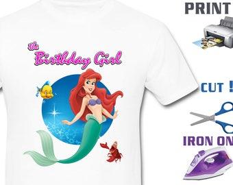 Mermaid Iron On Transfer - Girl Mermaid - Mermaid Girl Birthday Shirt DIY - Mermaid Shirt DIY - Instant Download - Digital Files
