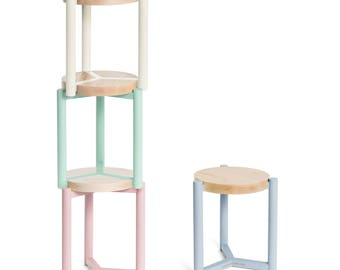Stacking stools etsy for Small stackable coffee tables