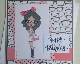 Handmade Fashion Girl Birthday Card, Teen Girl Birthday