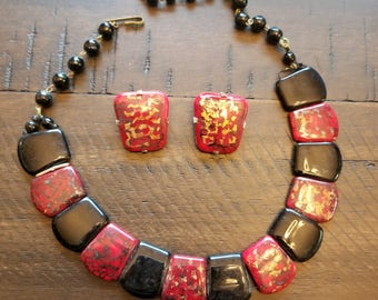 Western Germany Vintage red and black necklace with matching clip on earings