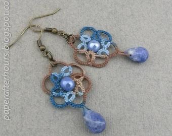 Blue-brown earrings