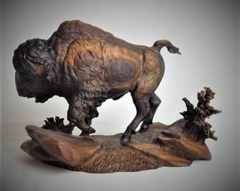Original Bison Bull Walnut Wood Carving by Joan Kosel