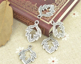 Leaf charms, Tree charms, 20 pcs charms, Tibetan silver charms, Alloy charms, Metal charms, Jewelry findings, DIY charms, 24 mm x 18 mm, A69