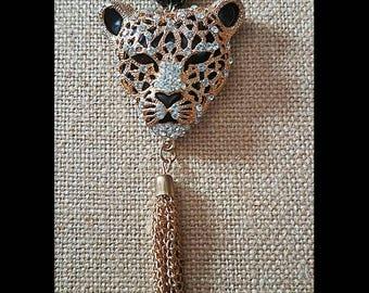 Crystal leopard tassel necklace