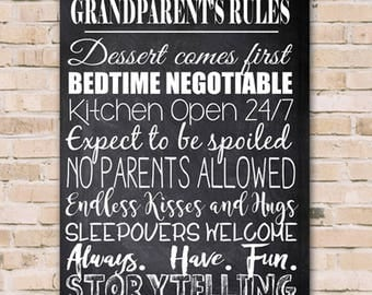 Personalized Grandparents Rules Canvas Print - Grandchild Canvas Print - Grandchild Print - Canvas Print - Grandparents Wall Decor
