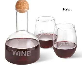 Personalized Wine Decanter in Wood Crate with set of 2 Stemless Wine Glasses - Wedding Gifts - Wine Decanter Set - Glassware - Decanter