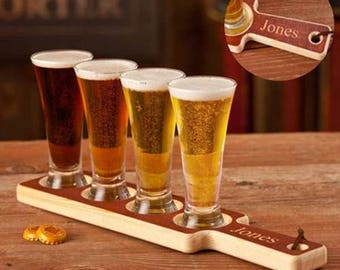 Personalized Real Wood Beer Tasting Set - Wedding Gifts - Groomsmen Gifts - Man Cave Gifts - Guys Gifts - Bar Accessories - Mens Gifts