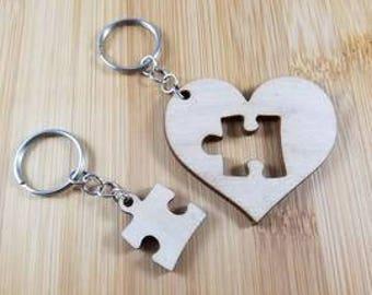 Puzzle piece heart keychain set
