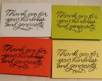 """Set of 4 Cards, Small Thank You Note Cards, 2.75""""x4"""", Made in the USA, #38"""